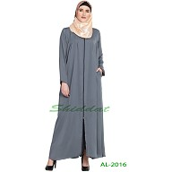Front open zipper abaya- Grey
