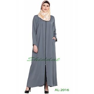 Front open zipper abaya- Grey