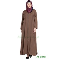 Front open zipper abaya- Golden