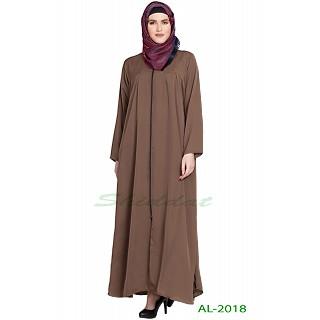 Front open zipper abaya- Golden