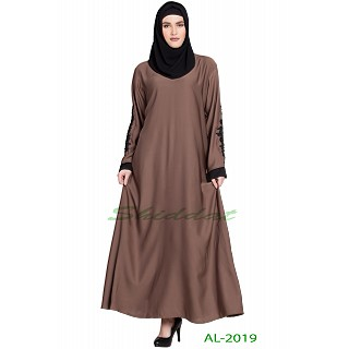 A-line abaya with patchwork- Stone Pink