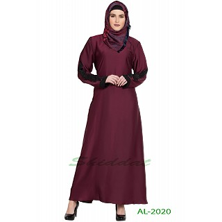 A-line abaya with patchwork- Wine color