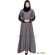 A-line abaya with patchwork- Grey
