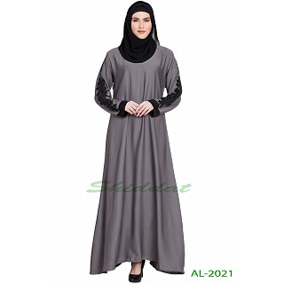 A-line abaya with patchwork- Grey