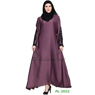 A-line abaya with patchwork- Purple