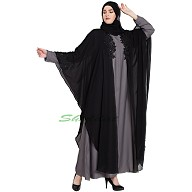 Kaftan abaya with patchwork- Black-Grey