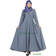 Embroidered Umbrella abaya- Light Grey