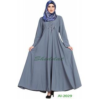 Embroidered Umbrella abaya- Light Grey