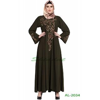 Umbrella abaya with embroidery