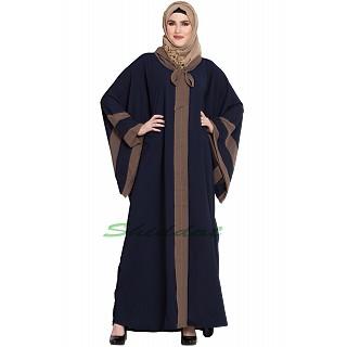 Kaftan abaya in Afghani style- Navy Blue