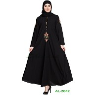 Black Umbrella abaya with embroidery work