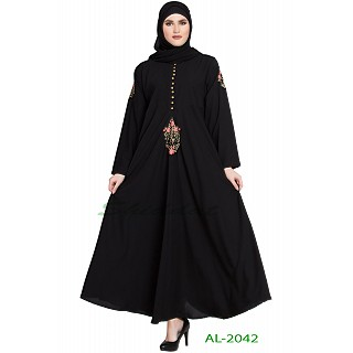 Black Umbrella abaya with embroidery work