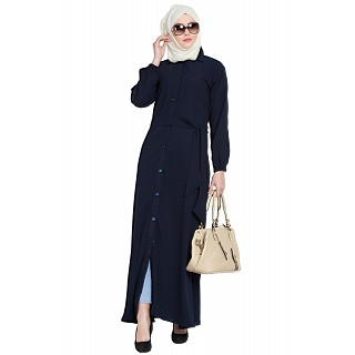 Collared front open abaya- Navy Blue