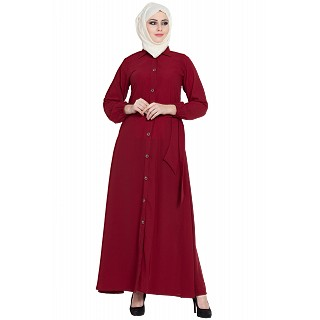 Collared front open abaya- Maroon