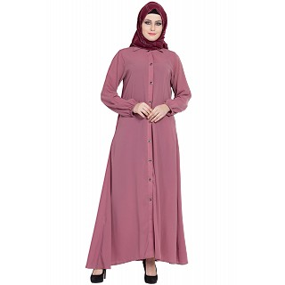 Collared front open abaya- Puce Pink