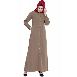 Collared front open abaya- Beige