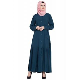 Front open designer abaya- Teal Green