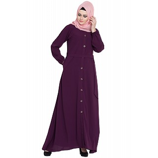 Collared front open abaya- Purple
