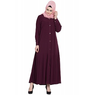 Front open designer abaya- Wine