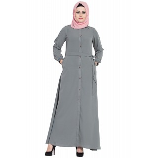 Collared front open abaya- Grey