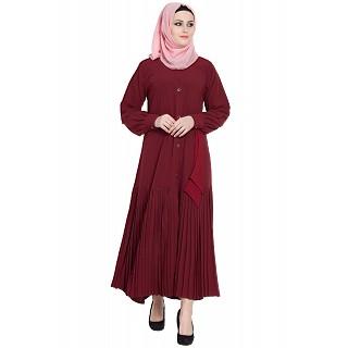Front open designer abaya- Maroon