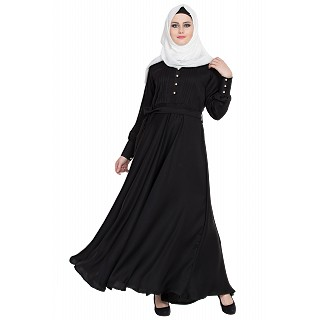 Designer Flared abaya- Black
