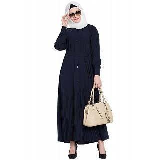 Front open designer abaya- Navy Blue