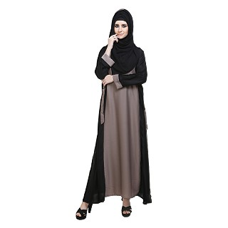 Dual colored Abaya with side adjustment belt