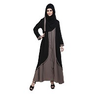 Front open abaya with zipper