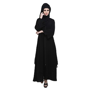 Burqa- Double layered front open with zipper