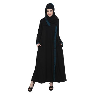 Side open black burqa