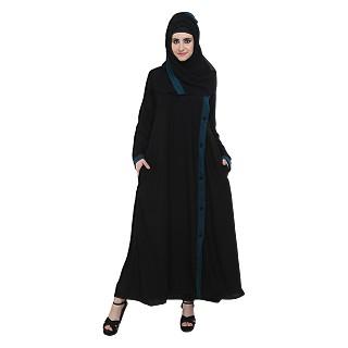 Side open black burqa