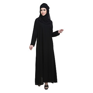 A-line Burqa in black color