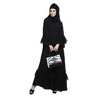 Flare abaya with frills- Black