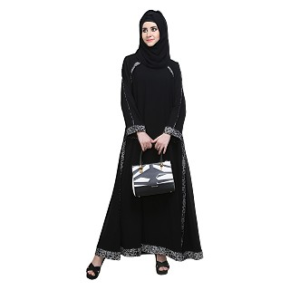 Double layered flared abaya- Black