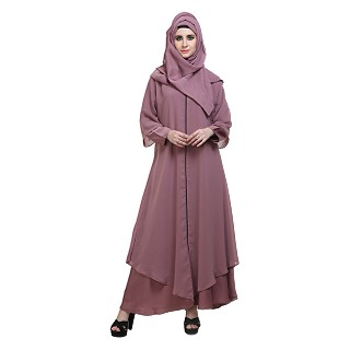 Front-open double layered abaya- Puce Pink