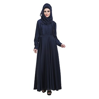 Flared Abaya- Navy Blue