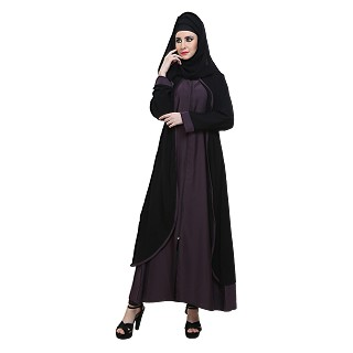 Abaya- Black and Purple front open double layered