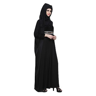 Kaftan style Abaya in black lycra