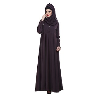 Flared Abaya- Purple pleated