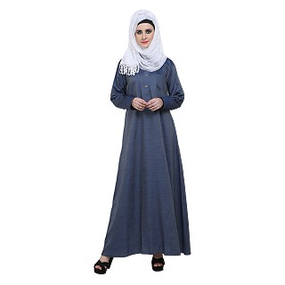 Denim A-Shaped Abaya