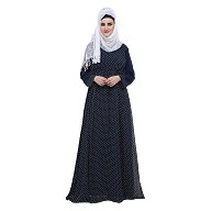 Double layered printed Abaya- Blue