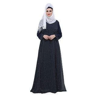 Double layered printed abaya- Blue