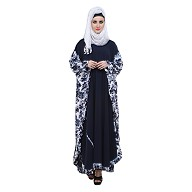 Kaftan Burqa- Printed on navy blue colour fabric