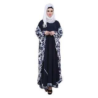 Kaftan abaya- Printed on navy blue colour fabric
