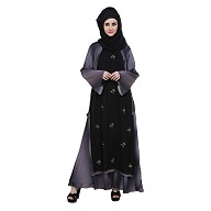 Double Layered abaya -Black & Shaded  color With Zari Work