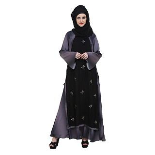 Double Layer Abaya -Black & Shaded  color With Zari Work