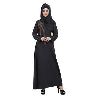Designer Abaya with Zari Work - Dark Grey