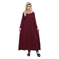 Pleated abaya- Maroon