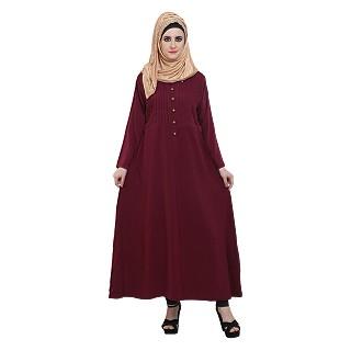 Pleated abaya- Maroon